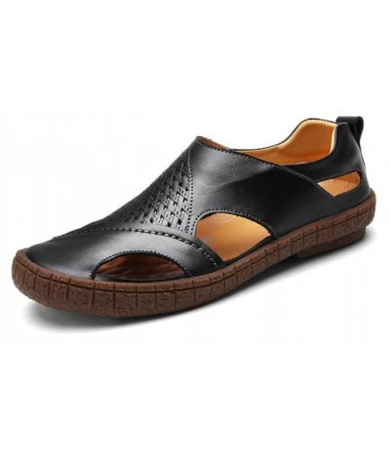 British Style Genuine Leather Men Sandals
