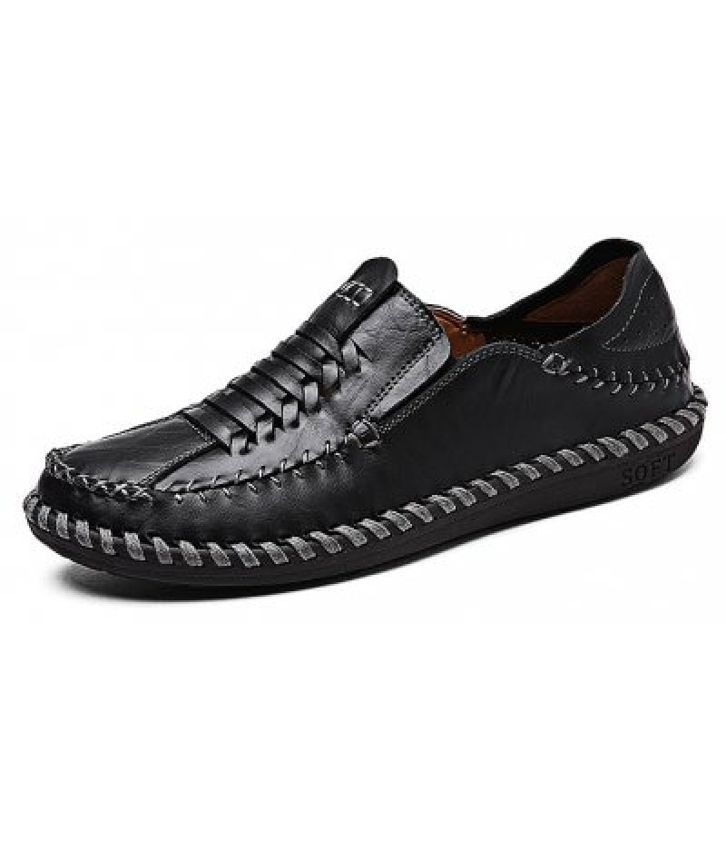 Comfortable Breathable Slip-on Men Leather Knitting Shoes