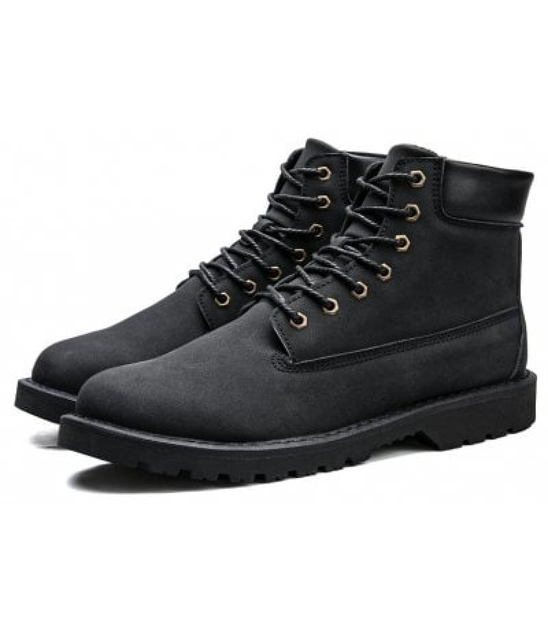 Men Solid Color Stitching Ankle Marten Boots