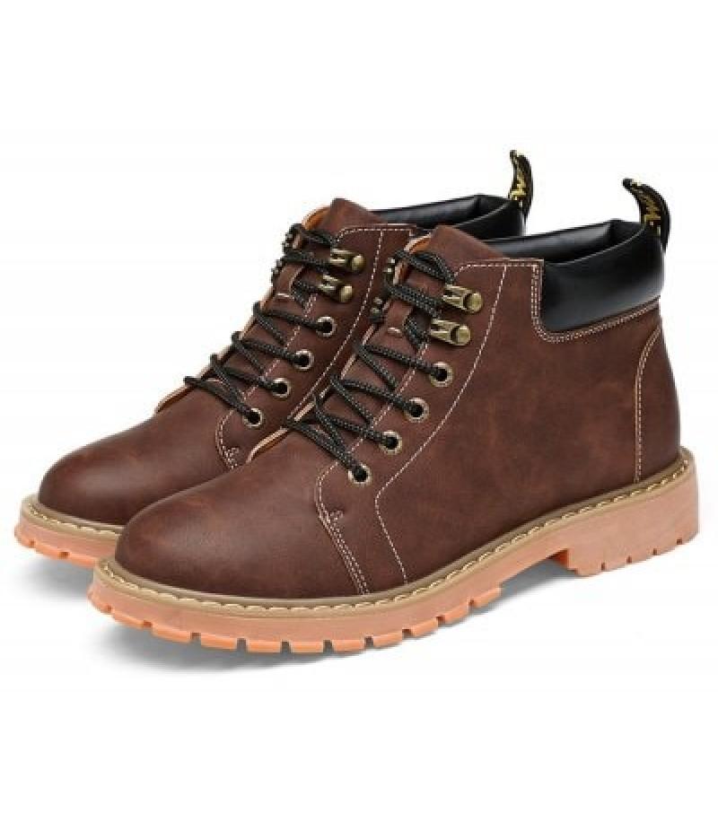 Men Stylish Lace-up Work Boots