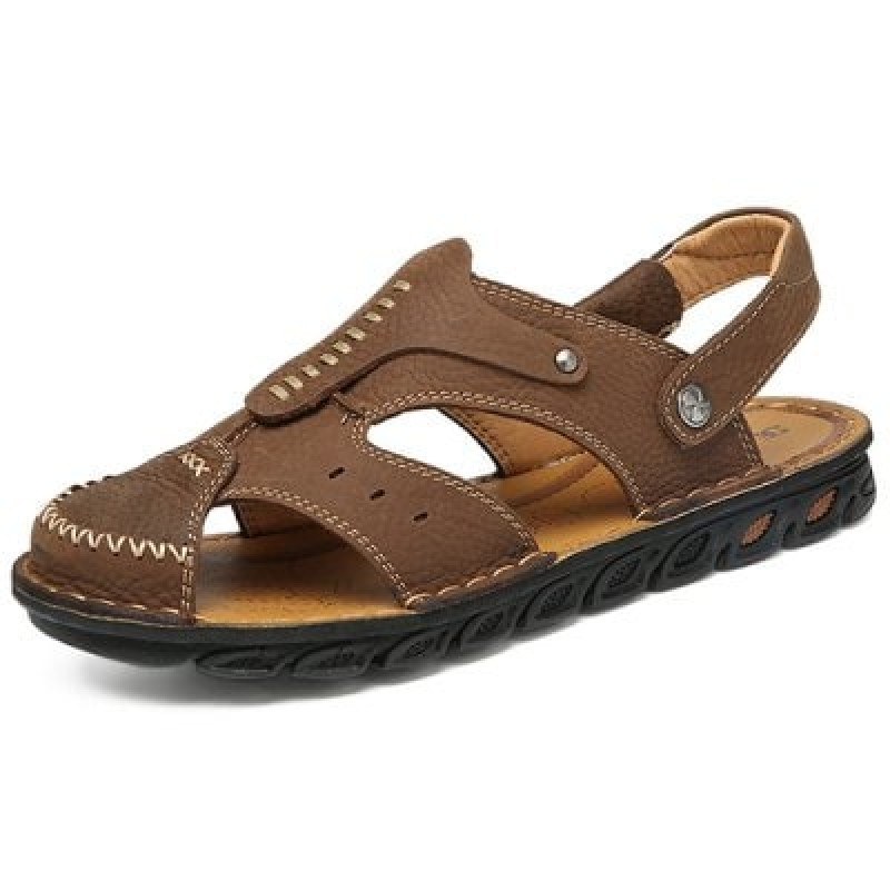 Men Fashion Hollow-out Dual-use Leather Sandals